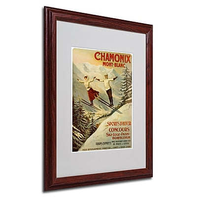 F.Tamanjo 'Chamonix Mont Blanc' Framed Matted Art - 16x20 Inches - Wood Frame