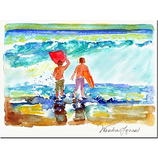 Trademark Fine Art Wenda 'Boogie Boarders' Canvas Art Ready to Hang 35x47 Inches