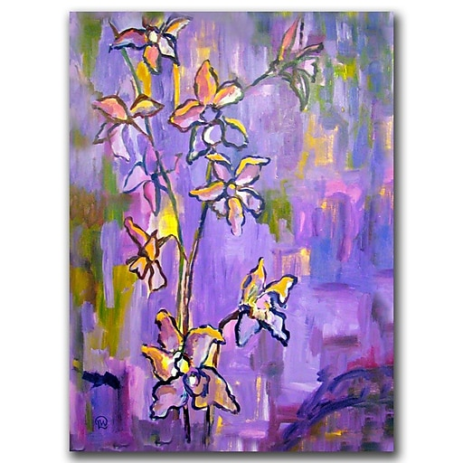 Trademark Fine Art Wendra 'Purple Orchids' Canvas Art Ready to Hang 18x24 Inches