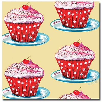 Trademark Fine Art Wendra 'Cherry Cupcakes' Canvas Art 14x14 Inches