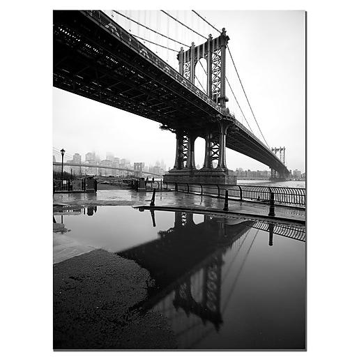 Trademark Fine Art Reflects Manhattan Bridgeby Yale Gurney Ready to Hang 24x32 Inches