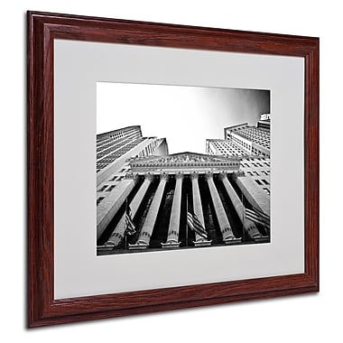 Yale Gurney 'The New York Stock Exchange' Matted Framed Art - 16x20 Inches - Wood Frame