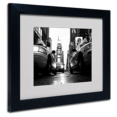 Trademark Fine Art Yale Gurney 'Broadway Taxis' Matted Art Black Frame 11x14 Inches