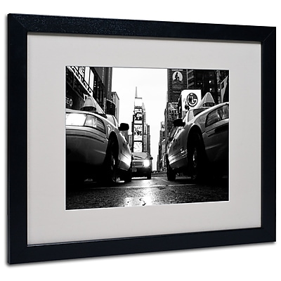 Trademark Fine Art Yale Gurney 'Broadway Taxis' Matted Art Black Frame 16x20 Inches
