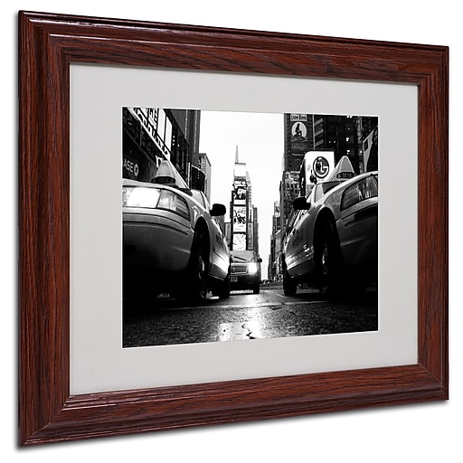 Yale Gurney 'Broadway Taxis' Matted Framed Art - 11x14 Inches - Wood Frame