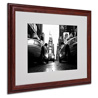 Yale Gurney 'Broadway Taxis' Framed Matted Art - 16x20 Inches - Wood Frame