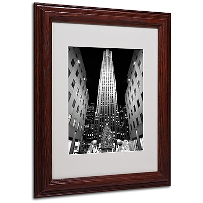 Yale Gurney 'Rockefeller Night' Matted Framed Art - 11x14 Inches - Wood Frame