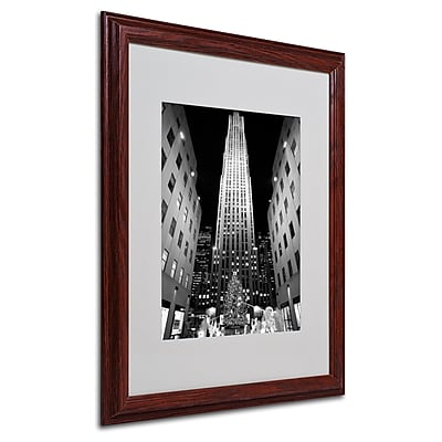 Yale Gurney 'Rockefeller Night' Matted Framed Art - 16x20 Inches - Wood Frame