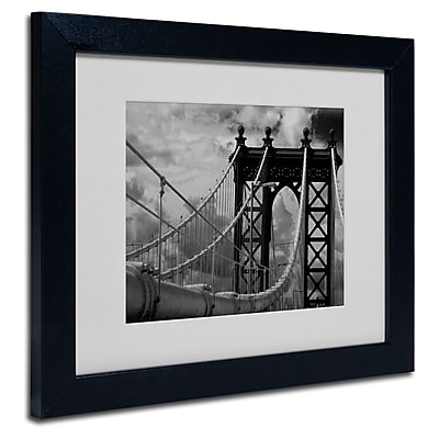 Trademark Fine Art Yale Gurney 'Manhattan Bridge' Matted Art Black Frame 11x14 Inches