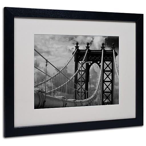 Trademark Fine Art Yale Gurney 'Manhattan Bridge' Matted Art Black Frame 16x20 Inches