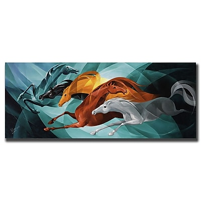 Trademark Fine Art Gallop by Yelena Lamm-Gallery Wrapped Canvas Art 16x32 Inches