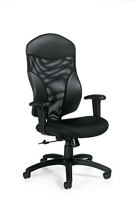Global Tye Fabric Executive Office Chair, White Sand, Adjustable Arm (QS19504UR19)