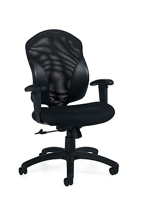 Global Tye Fabric Computer and Desk Office Chair, Adjustable Arms, Brown Ridge (QS19514UR18)