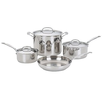 Cuisinart Chef's Classic Stainless Steel 7-Piece Cookware Set, Gray/Silver