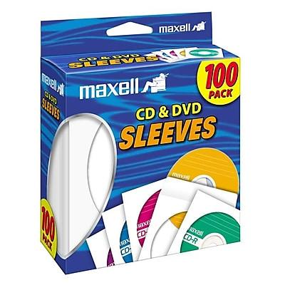 Maxell® CD/DVD Sleeves, White, 100/Pack