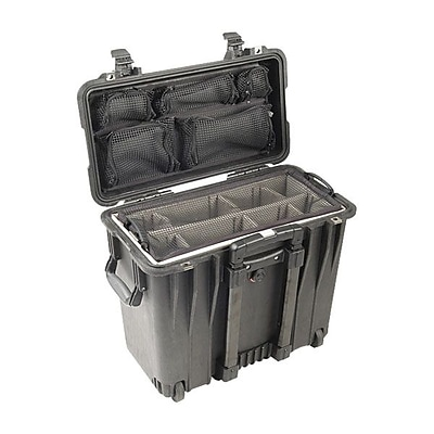 Pelican™ 1447 Rolling Top Loader Case With Office Divider Set and Lid Organizer, Black