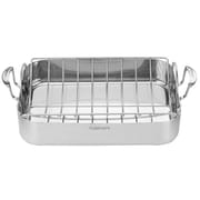"Cuisinart MultiClad Pro 16"" Stainless Steel Roaster with Rack, Silver"