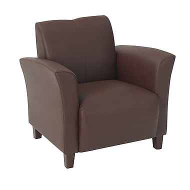 Office Star OSP Designs Eco Leather Breeze Club Chair With Cherry Finish Legs, Wine