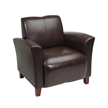 Office Star OSP Designs Eco Leather Breeze Club Chair With Cherry Finish Legs, Mocha