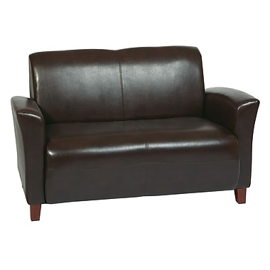 Office Star OSP Designs Eco Leather Love Seat With Cherry Finish Legs, Mocha
