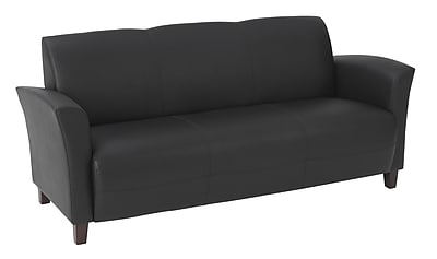 Office Star OSP Designs Eco Leather Sofa With Cherry Finish Legs, Black