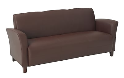 Office Star OSP Designs Eco Leather Sofa With Cherry Finish Legs, Wine