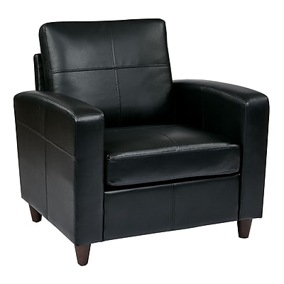 Office Star OSP Designs Eco Leather Club Chair With Espresso Finish Legs, Black