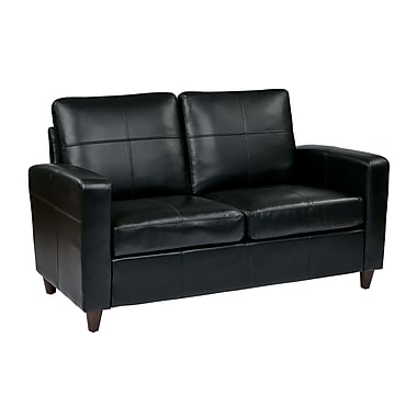 Office Star OSP Designs Eco Leather Love Seat With Espresso Finish Legs, Black