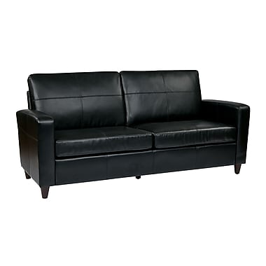 Office Star OSP Designs Eco Leather Sofa With Espresso Finish Legs, Black