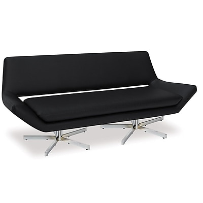 Office Star Ave Six® Faux Leather Love Seat, Black