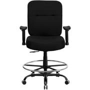 Flash Furniture Big and Tall Fabric Drafting Stool, Adjustable Arm, Black