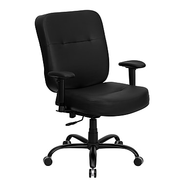 Flash Furniture HERCULES Series 400 lb. Capacity Big and Tall Leather Office Chair with Arms and Extra WIDE Seat, Black