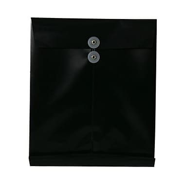 JAM Paper® Plastic Envelopes with Button and String Tie Closure, Letter Open End, 9.75 x 11.75, Black Poly, 108/Pack (118B1BLB)