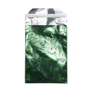 JAM Paper® Foil Envelopes with Self Adhesive Closure, 7 x 9.5, Open End, Christmas Green Mistletoe, 100/pack (01323317B)
