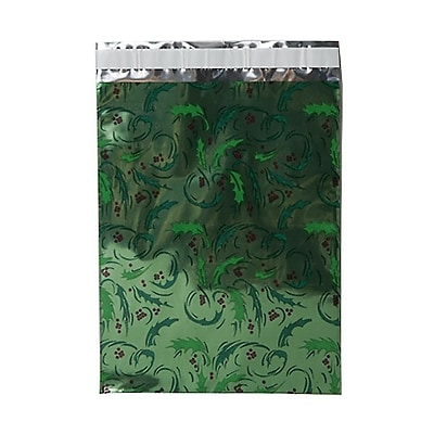 JAM Paper® Foil Envelopes with Self Adhesive Closure, 9 x 12, Open End, Green Mistletoe, 25/pack (1333314)