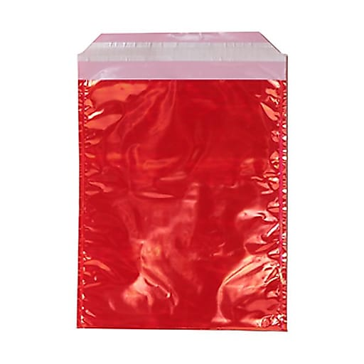 JAM Paper® 6.25 x 7.875 Open End Foil Envelopes with Self-Adhesive Closure, Red Iridescent, 100/Pack (01323279B)