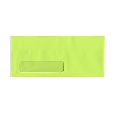 JAM Paper® #10 Window Envelopes, 4 1/8 x 9.5, Brite Hue Ultra Lime Green, 100/Pack (5156480g)