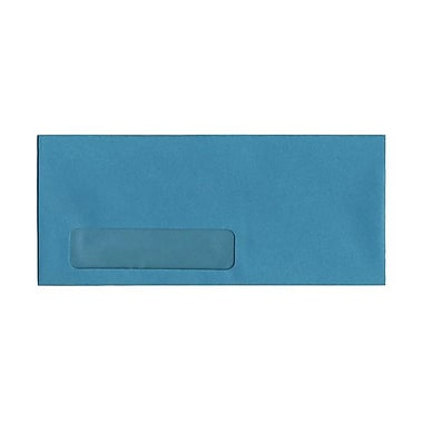 JAM Paper #10 Window Envelopes, 4 1/8 x 9.5, Brite Hue Sea Blue Recycled, 100/Pack (5156478g)
