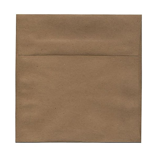 JAM Paper® 8.5 x 8.5 Square Invitation Envelopes, Brown Kraft Paper Bag, Bulk 1000/Carton (LEKR505B)