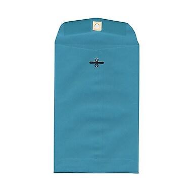 JAM PaperMD – Enveloppes ouvertes en papier avec fermeture à attache parisienne, 6 x 9 po, bleu de mer, 100 par boîte