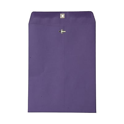 JAM Paper® 10 x 13 Open End Catalog Envelopes with Clasp Closure, Brite Hue Violet Purple Recycled, 100/pack (V0128182)