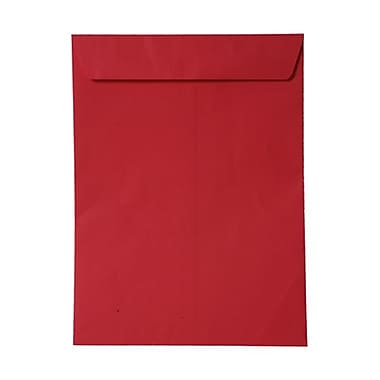 JAM Paper® 10 x 13 Open End Catalog Envelopes, Brite Hue Red Recycled, 100/Pack (V0128192)