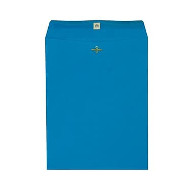 JAM Paper® 10 x 13 Open End Catalog Envelopes with Clasp Closure, Brite Hue Blue Recycled, 100/Pack (87493)