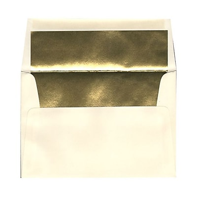 JAM Paper® A8 Foil Lined Envelopes, 5.5 x 8.125, Ecru Ivory with Gold Lining, 25/pack (332417064)