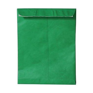 JAM Paper® 10 x 13 Tyvek Envelopes, Catalog Open End with Self Adhesive Closure, Green, 100/Pack (v021379g)