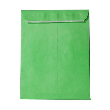JAM Paper® 10 x 13 Tyvek Envelopes, Catalog Open End with Self Adhesive Closure, Lime Green, 100/Pack (v021381g)
