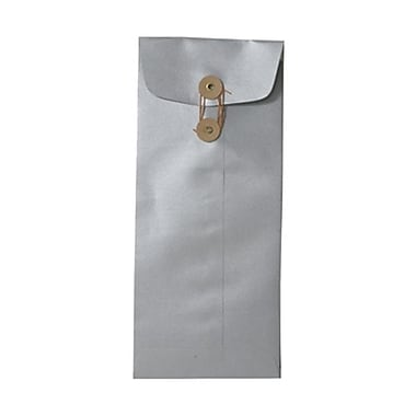 JAM Paper® #10 Policy Envelopes with Button and String Tie Closure, 4 1/8 x 9.5, Stardream Metallic Silver, 50/Pack (1261603g)