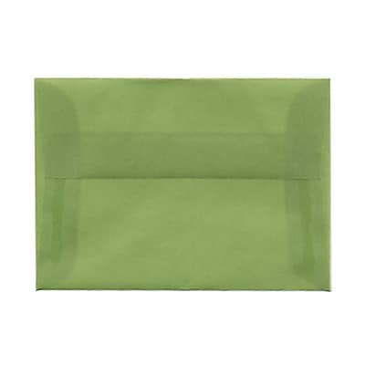 JAM Paper® 4bar A1 Envelopes, 3 5/8 x 5 1/8, Leaf Green Translucent Vellum, 25/pack (1591611)