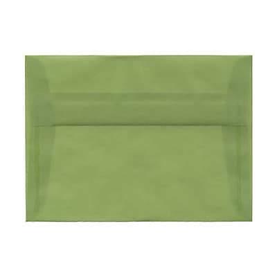 JAM Paper® A7 Invitation Envelopes, 5.25 x 7.25, Leaf Green Translucent Vellum, 25/pack (PACV703)
