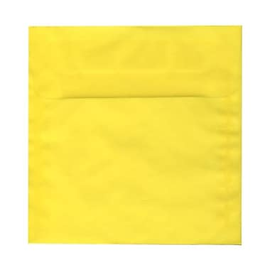 JAM PaperMD – Enveloppes carrées en vélin translucide avec fermeture gommée, 8 x 8 po, jaune primaire, 1000 par paquet
